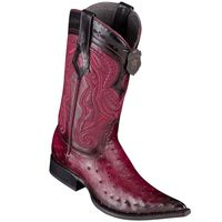 Cowboy Boots Mens Pointy Toe Burgundy Ostrich Los Altos 9530343