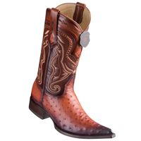 Cowboy Boots Mens Pointy Toe Cognac Rust Ostrich Los Altos 9530357