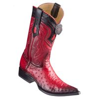 Cowboy Boots Mens Pointy Toe Red Ostrich Los Altos 9530329