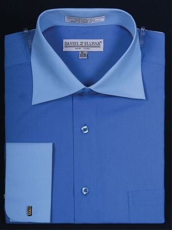 Daniel Ellissa 2 Tone Blue French Cuff Dress Shirt DS3100TT