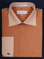 Daniel Ellissa 2 Tone Brown Tan French Cuff Dress Shirt DS3100TT