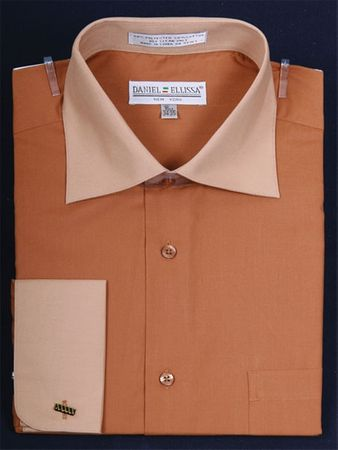 Daniel Ellissa 2 Tone Brown Tan French Cuff Dress Shirt DS3100TT - click to enlarge