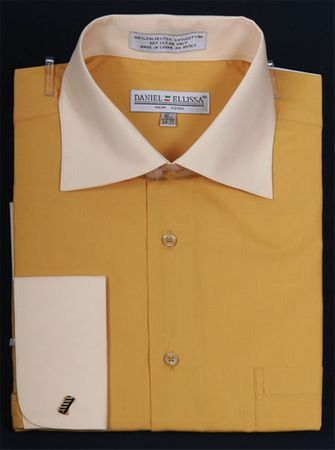 Daniel Ellissa 2 Tone Mustard French Cuff Dress Shirt DS3100TT