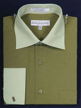 Daniel Ellissa 2 Tone Olive  French Cuff Dress Shirt DS3100TT - click to enlarge
