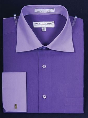 Daniel Ellissa 2 Tone Purple French Cuff Dress Shirt DS3100TT