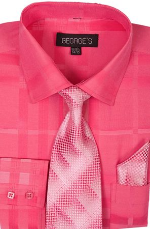 Mens Dress Shirt with Matching Tie and Hanky Pink AH623