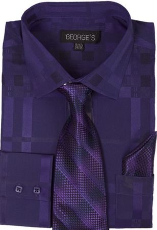George Men's Purple Shadow Plaid Fancy Shirt Tie Set AH623