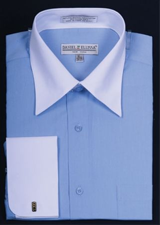 French Cuff Shirt Mens Blue White Contrast Collar DS3006WT