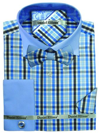 Daniel Ellissa Blue Loud Plaid Shirt with Bow Tie Ensemble DS3779BP2 - click to enlarge