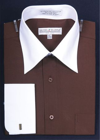 French Cuff Dress Shirt Brown White Contrast Collar DS3006WT