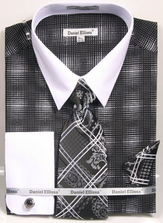 Daniel Ellissa Big Size Dress Shirt Tie Set Black Geo Pattern DS3796 - click to enlarge