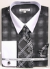 Daniel Ellissa Big Size Dress Shirt Tie Set Black Geo Pattern DS3796