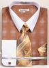 Daniel Ellissa Big Size Dress Shirt Tie Set Brown Geo Pattern DS3796
