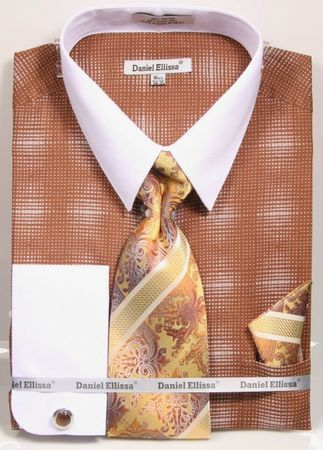 Daniel Ellissa Big Size Dress Shirt Tie Set Brown Geo Pattern DS3796 - click to enlarge