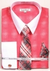 Daniel Ellissa Big Size Dress Shirt Tie Set Coral Geo Pattern DS3796
