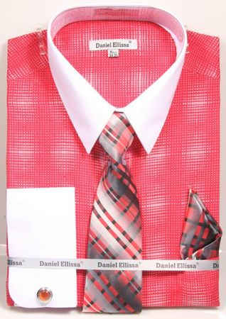 Daniel Ellissa Big Size Dress Shirt Tie Set Coral Geo Pattern DS3796 - click to enlarge