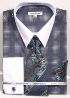 Daniel Ellissa Big Size Dress Shirt Tie Set Navy Blue Geo Pattern DS3796
