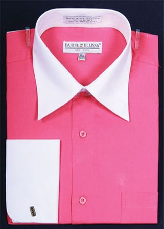 French Cuff Shirt Mens Fuchsia White Contrast Collar DS3006WT