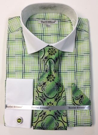 Daniel Ellissa Green Gingham Plaid Shirt Tie Set French Cuffs DS3774P2 - click to enlarge