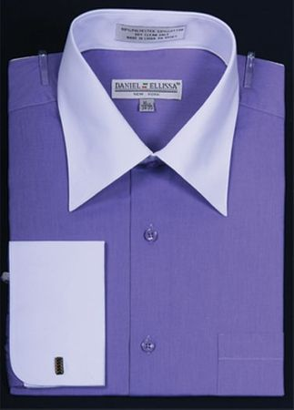 French Cuff Dress Shirt Lavender White Contrast Collar DS3006WT