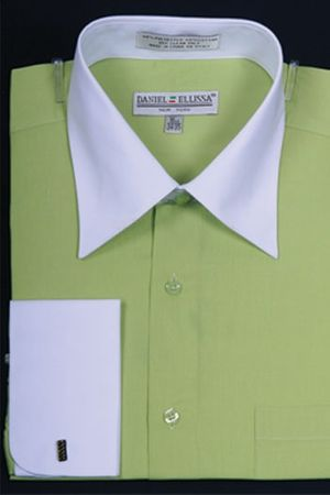 French Cuff Shirt Mens Lime White Contrast Collar DS3006WT