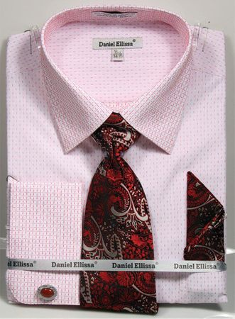 Daniel Ellissa Men's French Cuff Shirt Set - Red Mini Pattern DS3792P2 - click to enlarge