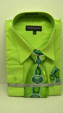 Daniel Ellissa Mens Apple Green Dress Shirt Tie Set D1P2
