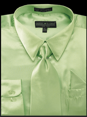 Daniel Ellissa Mens Apple Green Shiny Satin Dress Shirt Tie Set 3012