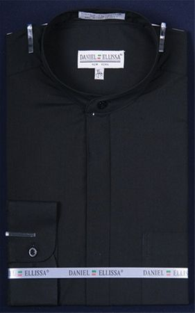 Daniel Ellissa Mens Black Mandarin Collar Shirt DS3001C
