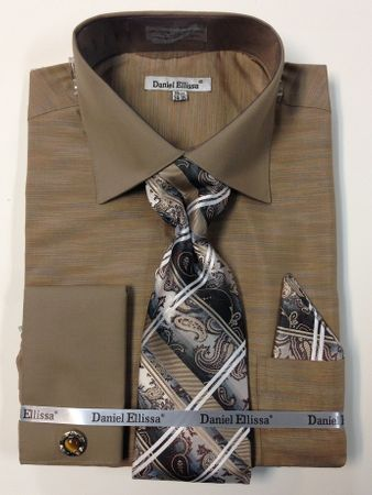 Daniel Ellissa Mens Beige 1950s Italian Style Shirt Tie Combo DS2014P2 - click to enlarge