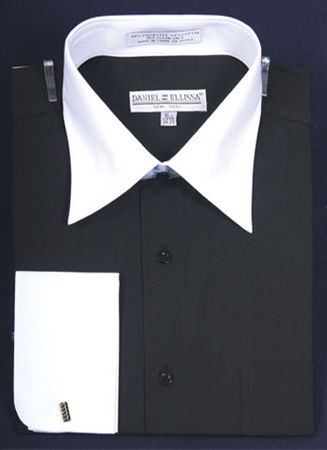 French Cuff Shirt Mens Black White Contrast Collar DS3006WT
