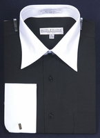 Daniel Ellissa Mens Black and White Collar Dress Shirt DS3006WT