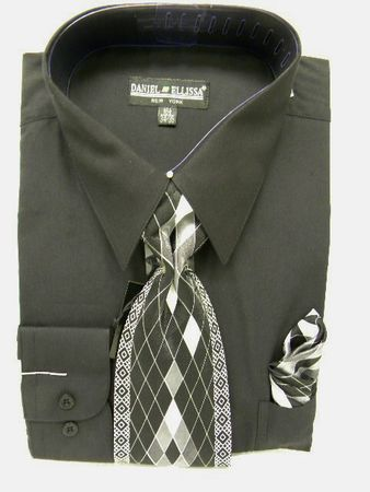 Daniel Ellissa Mens Black Dress Shirt Tie Set D1P2