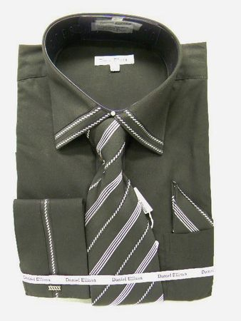 Daniel Ellissa Mens Black French Cuff Dress Shirt 3739 Size 18.5 - click to enlarge