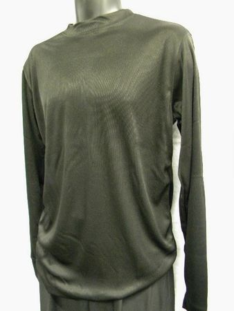 Daniel Ellissa Mens Black Shiny Mock Neck Shirt TS 08 - click to enlarge