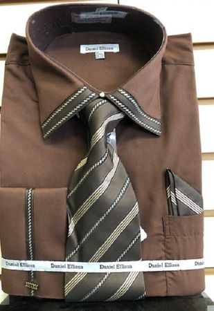 Mens Dark Brown French Cuff Tie and Hanky Set Dress Shirt DS3739P2 Size 16.5 36/37 Final Sale - click to enlarge