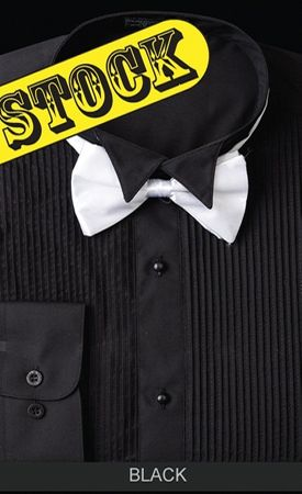 Daniel Ellissa Mens Black Wingtip Tuxedo Shirt With Bow Tie DS3005T - click to enlarge