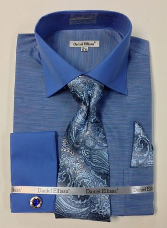 Daniel Ellissa Mens French Cuff Shirt Blue Texture Tie Hanky DS2014P2 - click to enlarge