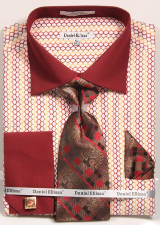 Daniel Ellissa Mens Burgundy Link Pattern French Cuff Dress Shirt Tie Set DS3794P2 - click to enlarge