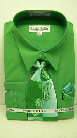 Daniel Ellissa Mens Classic Green Dress Shirt Tie Set D1P2