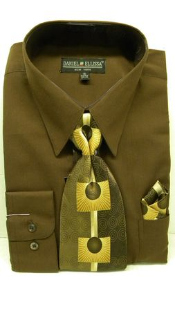 Daniel Ellissa Mens Dark Brown Colorful Dress Shirt Tie Sets D1P2