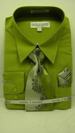 Daniel Ellissa Mens Dark Lime Green Dress Shirt Tie Set D1P2