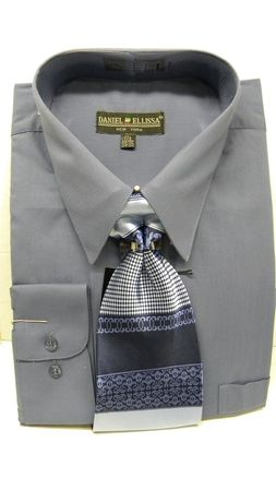 Daniel Ellissa Mens Denim Blue Dress Shirt Tie Set D1P2