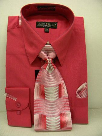 Daniel Ellissa Mens Fuschia Dress Shirt Tie Set D1P2