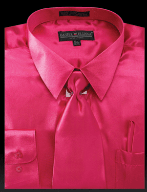 Daniel Ellissa Mens Fuschia Shiny Satin Dress Shirt Tie Set 3012
