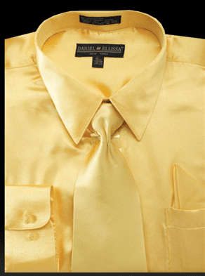 Daniel Ellissa Mens Gold Shiny Satin Dress Shirt Tie Set 3012