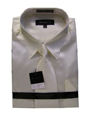 Daniel Ellissa Mens Ivory Shiny Satin Dress Shirt Tie Set 3012 - click to enlarge