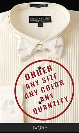 Daniel Ellissa Mens Ivory Wingtip Tuxedo Shirt With Bow Tie DS3005T