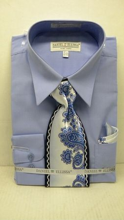 Daniel Ellissa Mens Light Blue Dress Shirt Tie Set D1P2