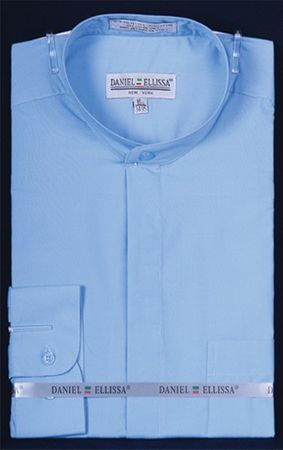 Daniel Ellissa Mens Light Blue Mandarin Collar Dress Shirt DS3001C